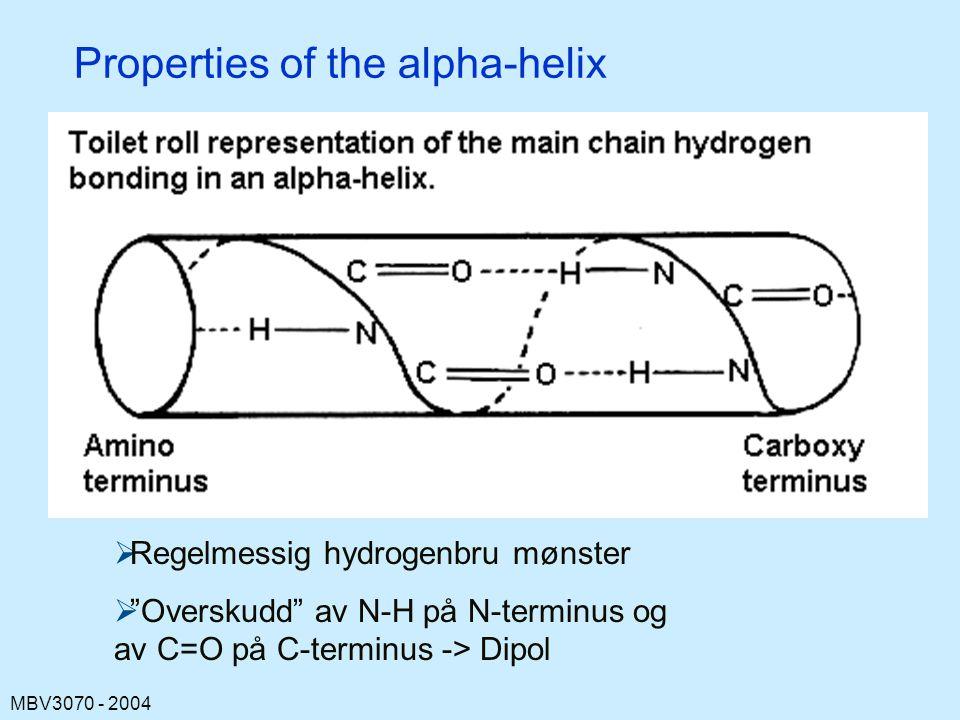 MBV3070 - 2004 Properties of the alpha-helix  Regelmessig hydrogenbru mønster  Overskudd av N-H på N-terminus og av C=O på C-terminus -> Dipol