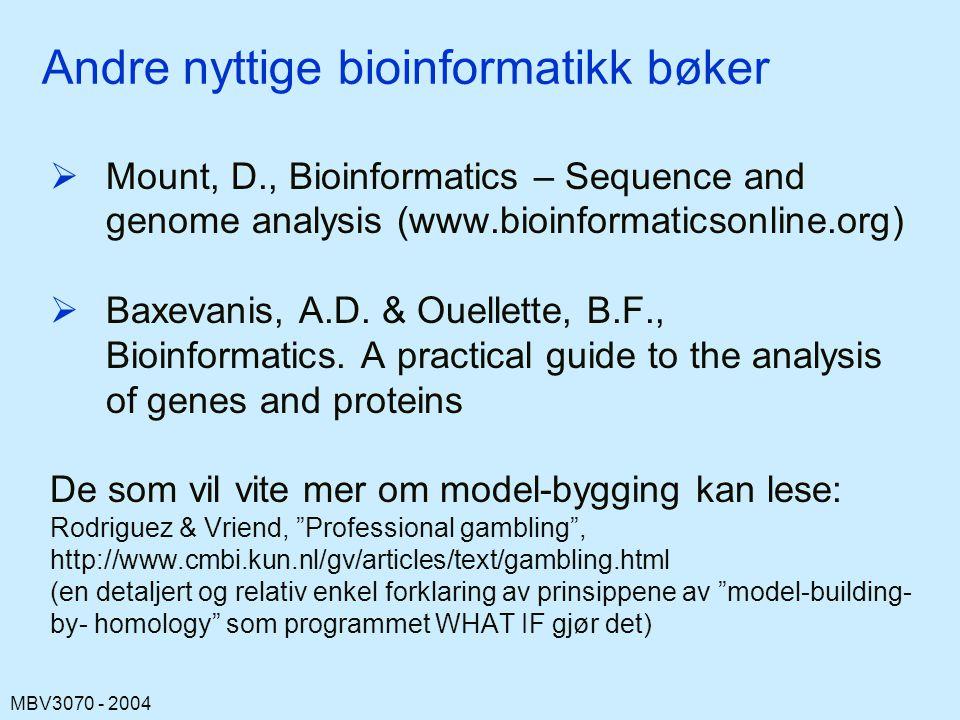 MBV3070 - 2004 Andre nyttige bioinformatikk bøker  Mount, D., Bioinformatics – Sequence and genome analysis (www.bioinformaticsonline.org)  Baxevanis, A.D.
