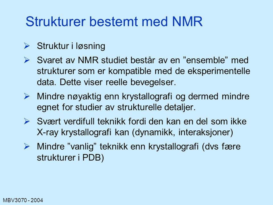 MBV3070 - 2004 Strukturer bestemt med NMR  Struktur i løsning  Svaret av NMR studiet består av en ensemble med strukturer som er kompatible med de eksperimentelle data.