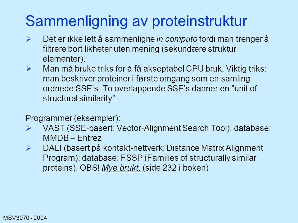 MBV3070 - 2004 Sammenligning av proteinstruktur  Det er ikke lett å sammenligne in computo fordi man trenger å filtrere bort likheter uten mening (sekundære struktur elementer).