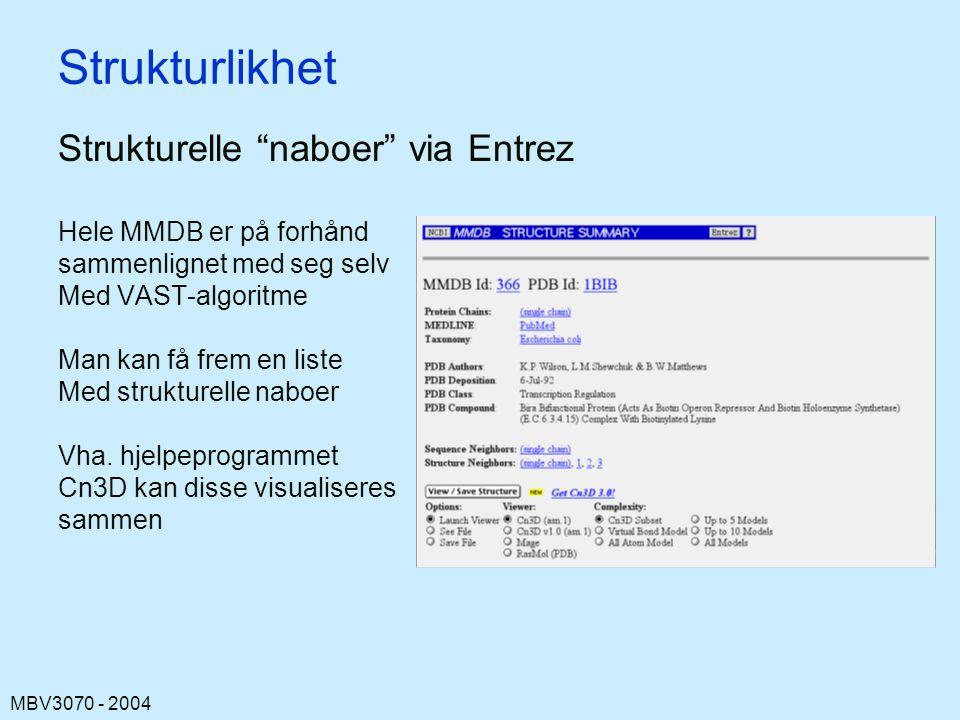 MBV3070 - 2004 Strukturlikhet Strukturelle naboer via Entrez Hele MMDB er på forhånd sammenlignet med seg selv Med VAST-algoritme Man kan få frem en liste Med strukturelle naboer Vha.