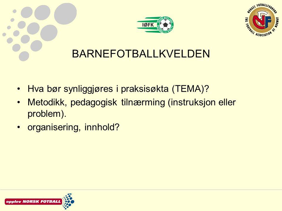 BARNEFOTBALLKVELDEN Hva bør synliggjøres i praksisøkta (TEMA)? Metodikk, pedagogisk tilnærming (instruksjon eller problem). organisering, innhold?