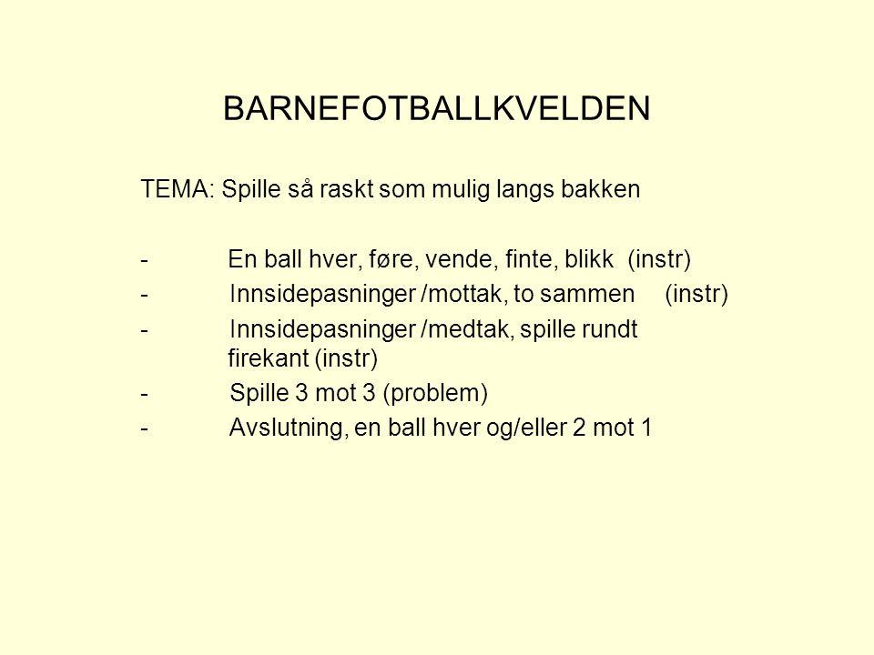 BARNEFOTBALLKVELDEN TEMA: Spille så raskt som mulig langs bakken -En ball hver, føre, vende, finte, blikk (instr) - Innsidepasninger /mottak, to samme