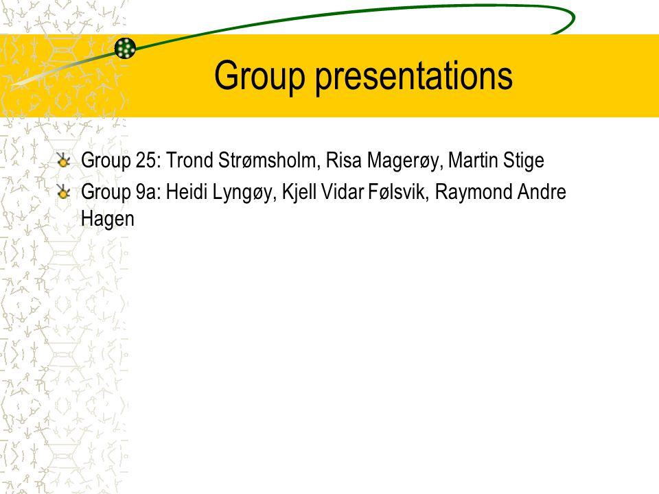 Group presentations Group 25: Trond Strømsholm, Risa Magerøy, Martin Stige Group 9a: Heidi Lyngøy, Kjell Vidar Følsvik, Raymond Andre Hagen