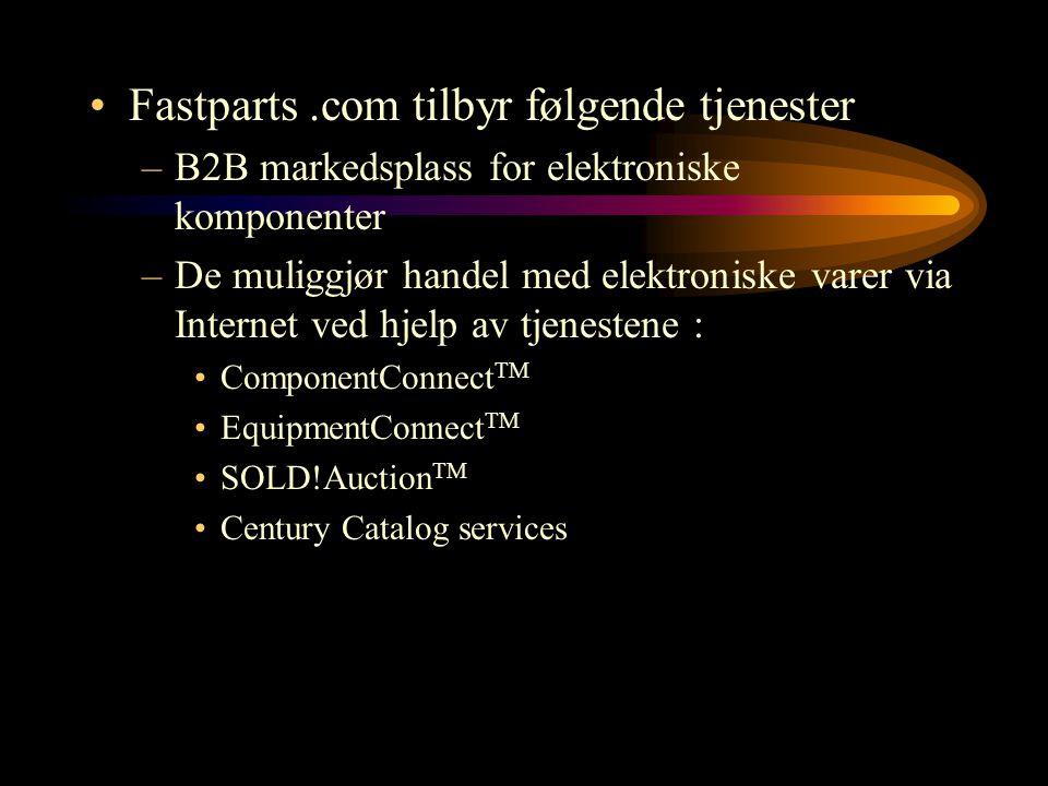 Fastparts.com tilbyr følgende tjenester –B2B markedsplass for elektroniske komponenter –De muliggjør handel med elektroniske varer via Internet ved hj