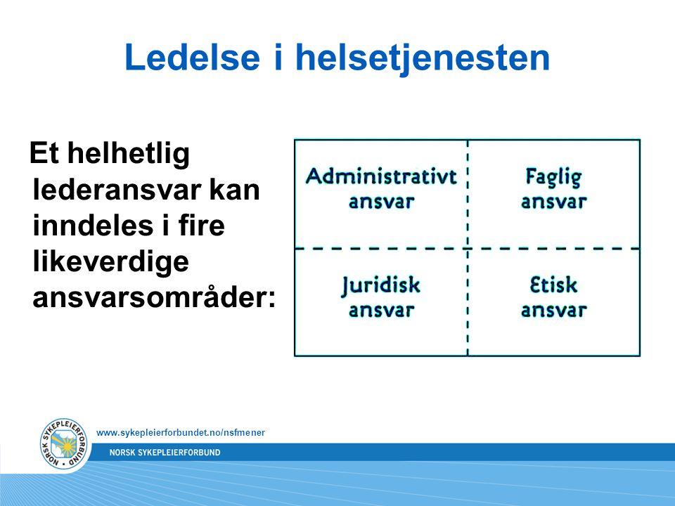 Ledelse i helsetjenesten Et helhetlig lederansvar kan inndeles i fire likeverdige ansvarsområder: www.sykepleierforbundet.no/nsfmener