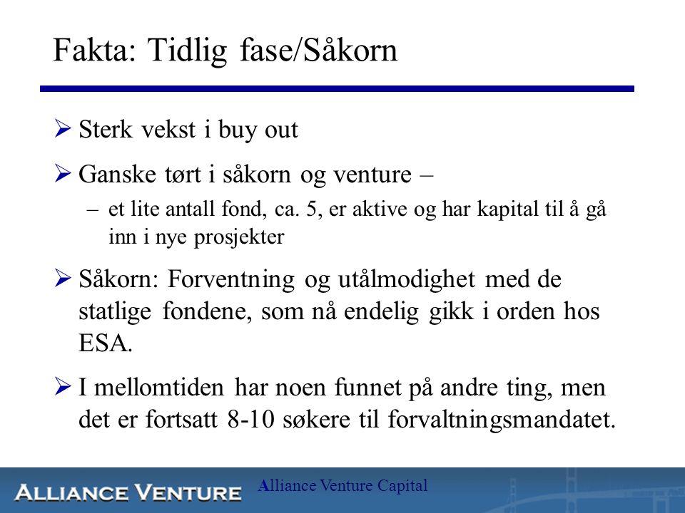 Alliance Venture Capital Fakta: Tidlig fase/Såkorn  Sterk vekst i buy out  Ganske tørt i såkorn og venture – –et lite antall fond, ca. 5, er aktive