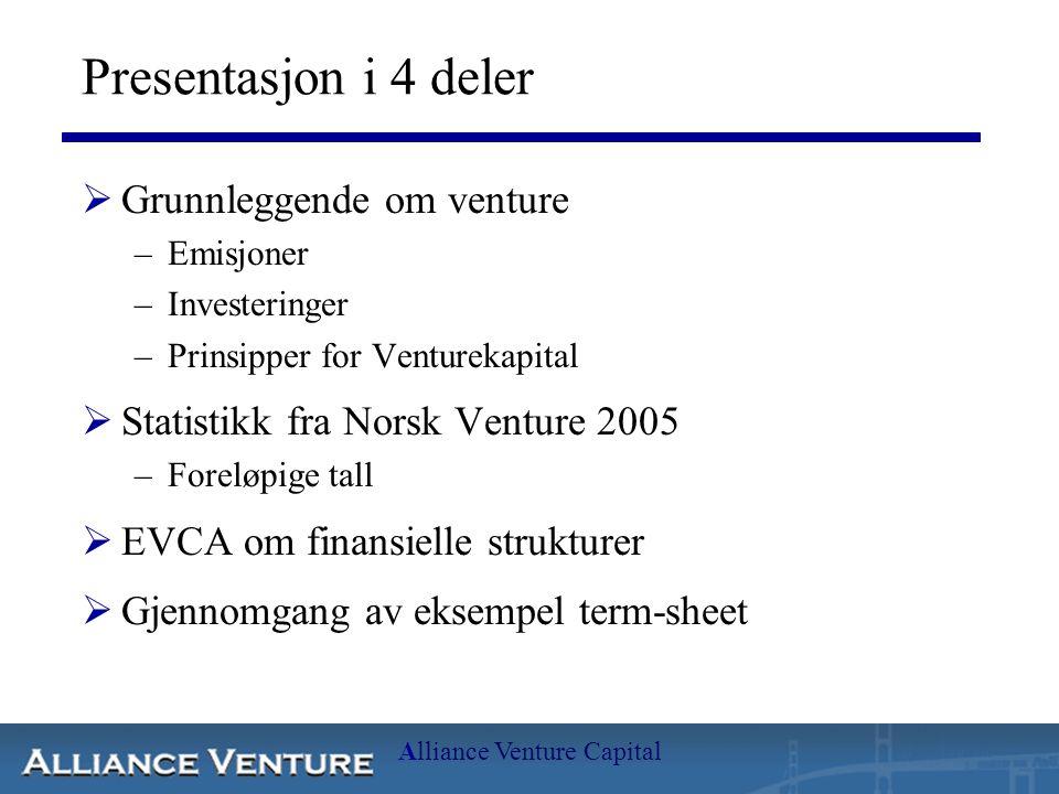 Alliance Venture Capital Presentasjon i 4 deler  Grunnleggende om venture –Emisjoner –Investeringer –Prinsipper for Venturekapital  Statistikk fra N