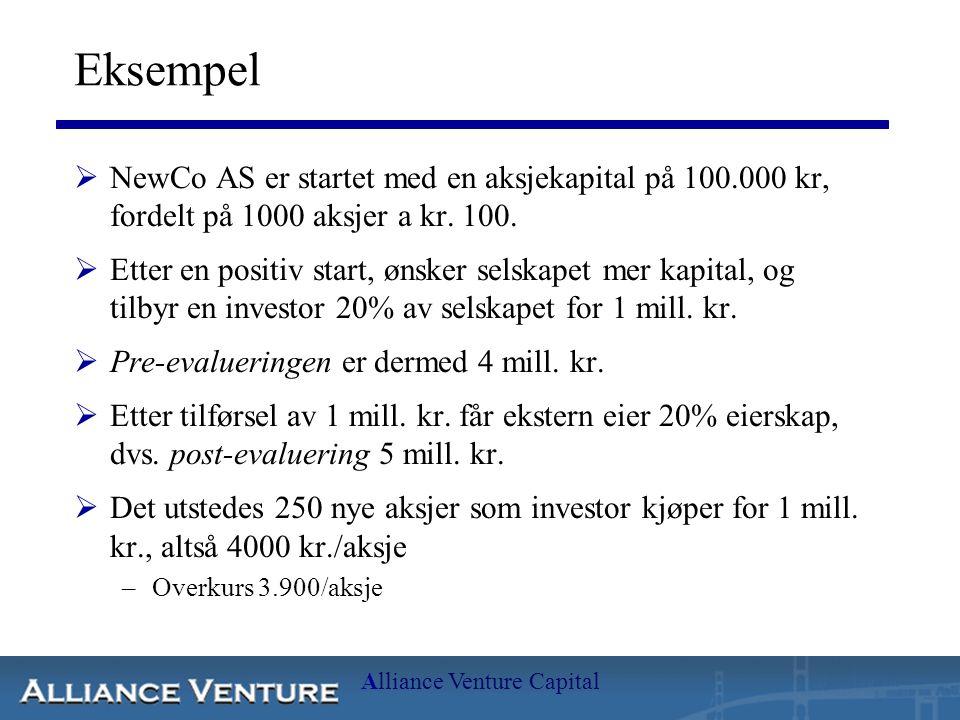 Alliance Venture Capital Eksempel  NewCo AS er startet med en aksjekapital på 100.000 kr, fordelt på 1000 aksjer a kr. 100.  Etter en positiv start,