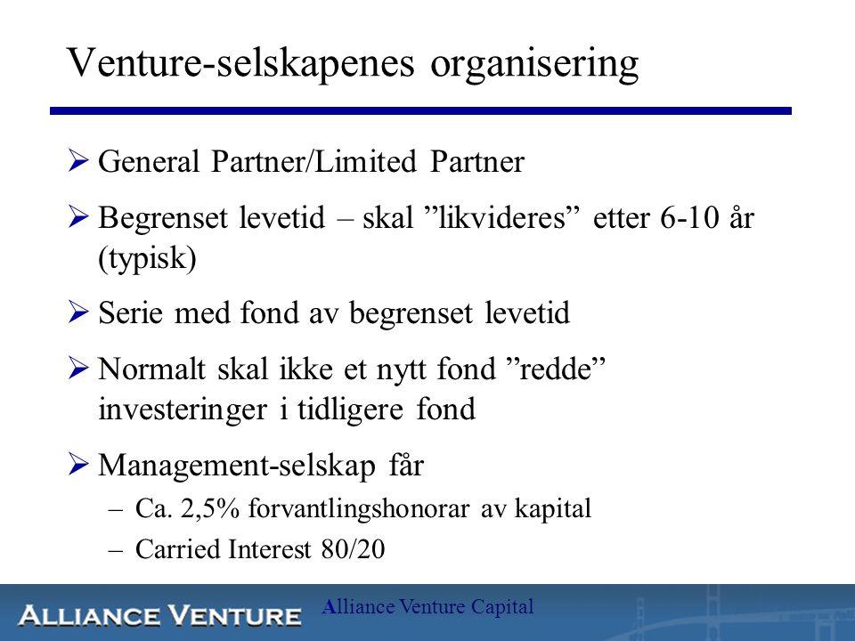 """Alliance Venture Capital Venture-selskapenes organisering  General Partner/Limited Partner  Begrenset levetid – skal """"likvideres"""" etter 6-10 år (typ"""