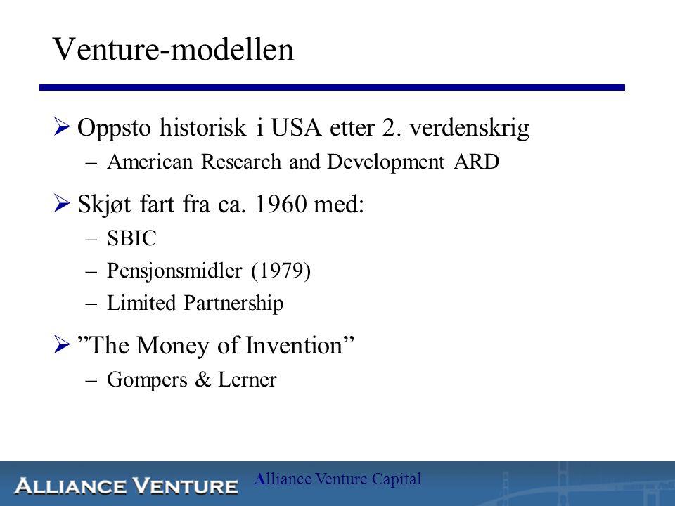 Alliance Venture Capital Venture-modellen  Oppsto historisk i USA etter 2. verdenskrig –American Research and Development ARD  Skjøt fart fra ca. 19