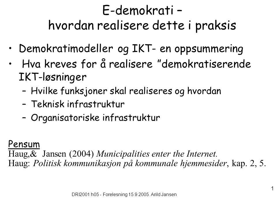 DRI2001 h05 - Forelesning 15.9.2005. Arild Jansen 1 E-demokrati – hvordan realisere dette i praksis Demokratimodeller og IKT- en oppsummering Hva krev