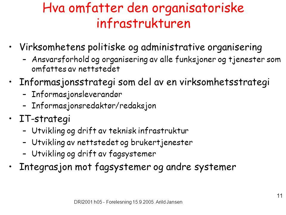 DRI2001 h05 - Forelesning 15.9.2005. Arild Jansen 11 Hva omfatter den organisatoriske infrastrukturen Virksomhetens politiske og administrative organi