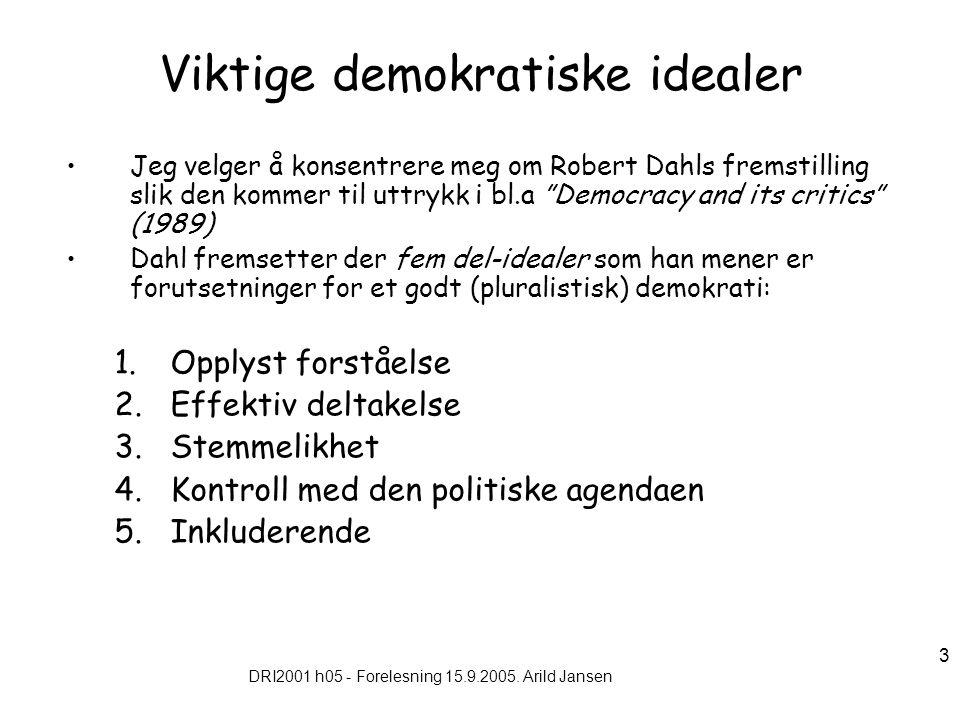 DRI2001 h05 - Forelesning 15.9.2005. Arild Jansen 3 Viktige demokratiske idealer Jeg velger å konsentrere meg om Robert Dahls fremstilling slik den ko