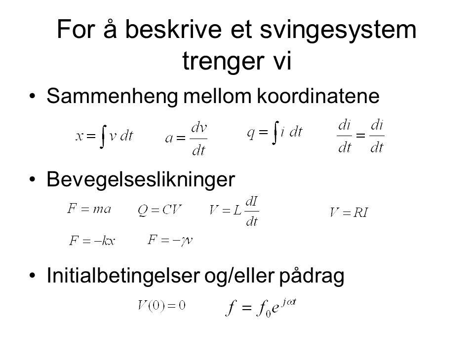 For å beskrive et svingesystem trenger vi Sammenheng mellom koordinatene Bevegelseslikninger Initialbetingelser og/eller pådrag