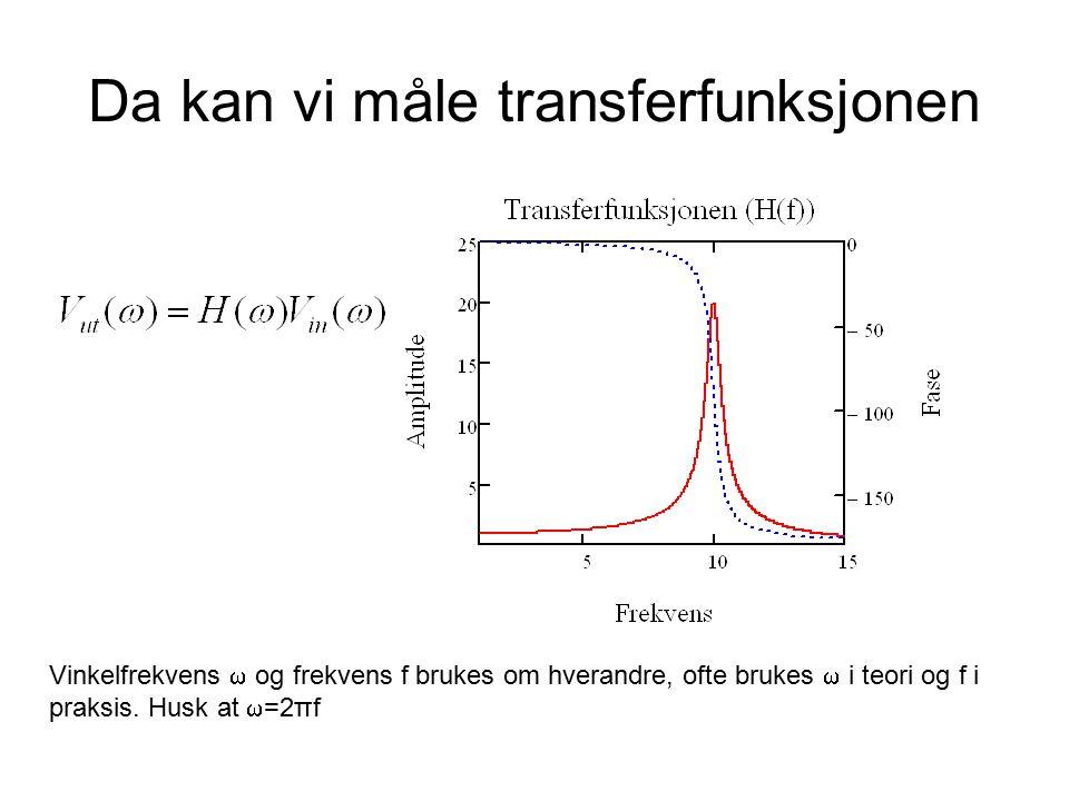 Da kan vi måle transferfunksjonen Vinkelfrekvens  og frekvens f brukes om hverandre, ofte brukes  i teori og f i praksis.