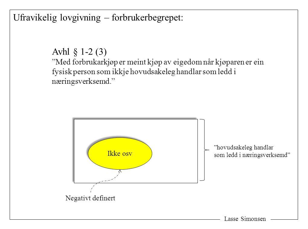 """Lasse Simonsen Ufravikelig lovgivning – forbrukerbegrepet: Avhl § 1-2 (3) """"Med forbrukarkjøp er meint kjøp av eigedom når kjøparen er ein fysisk perso"""