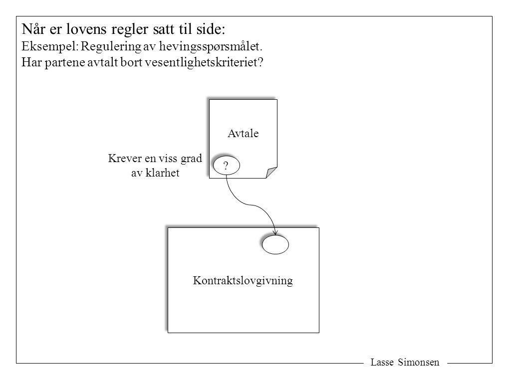 Lasse Simonsen Når er lovens regler satt til side: Eksempel: Regulering av hevingsspørsmålet. Har partene avtalt bort vesentlighetskriteriet? Avtale K