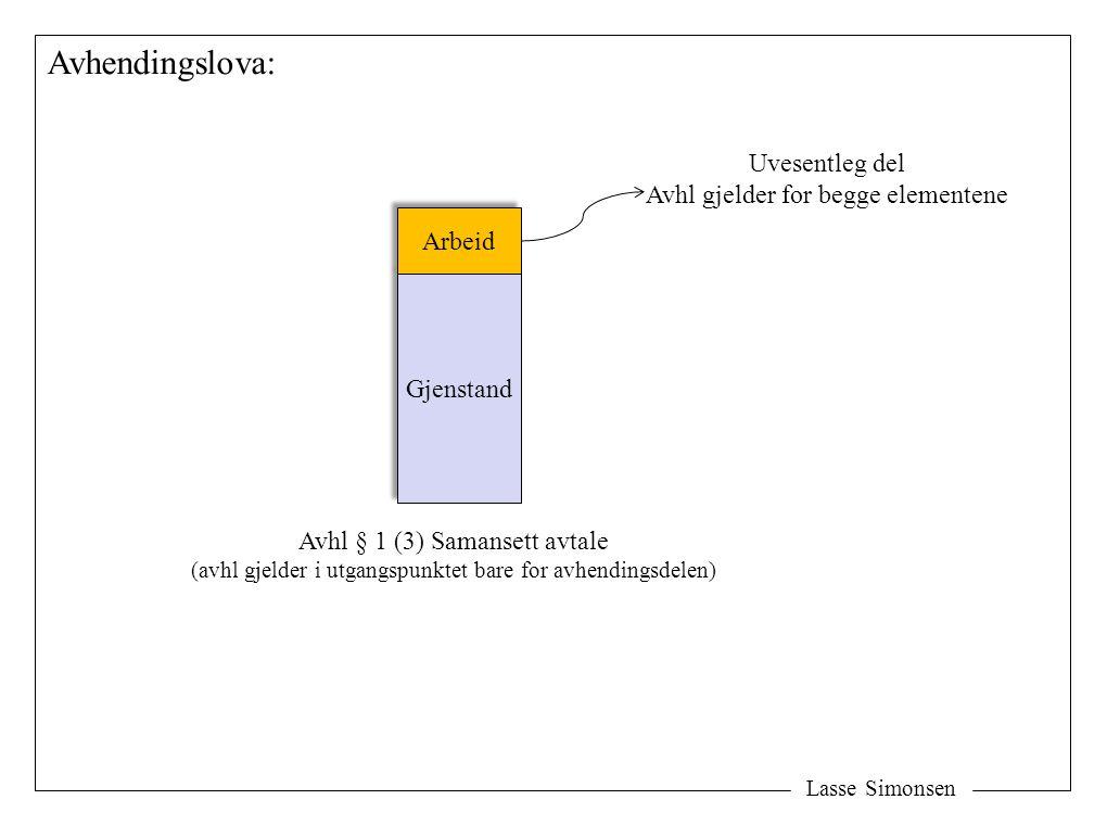 Lasse Simonsen Avhendingslova: Gjenstand Arbeid Avhl § 1 (3) Samansett avtale (avhl gjelder i utgangspunktet bare for avhendingsdelen) Uvesentleg del