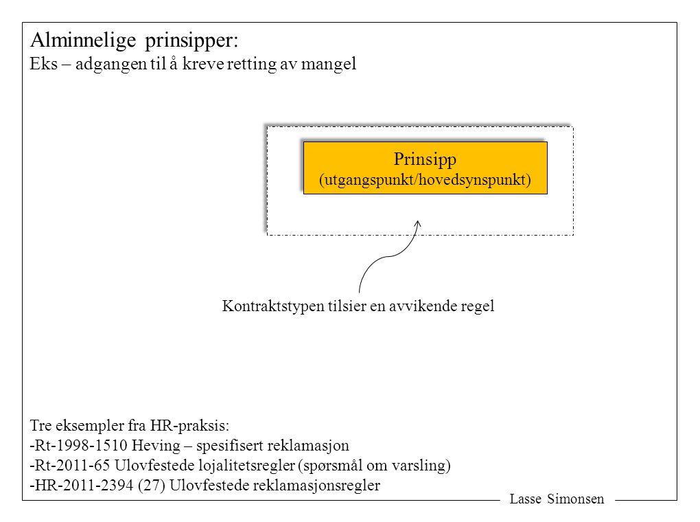 Lasse Simonsen Alminnelige prinsipper: Eks – adgangen til å kreve retting av mangel Prinsipp (utgangspunkt/hovedsynspunkt) Prinsipp (utgangspunkt/hove