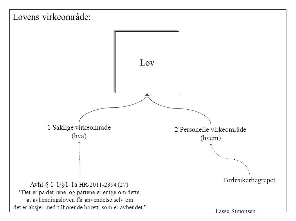 """Lasse Simonsen Lovens virkeområde: Lov 1 Saklige virkeområde (hva) 2 Personelle virkeområde (hvem) Avhl § 1-1/§1-1a HR-2011-2394 (27) """"Det er på det r"""