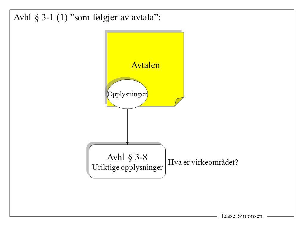 Lasse Simonsen Avhl § 3-1 (1) som følgjer av avtala : Avtalen Opplysninger Avhl § 3-8 Uriktige opplysninger Avhl § 3-8 Uriktige opplysninger Hva er virkeområdet
