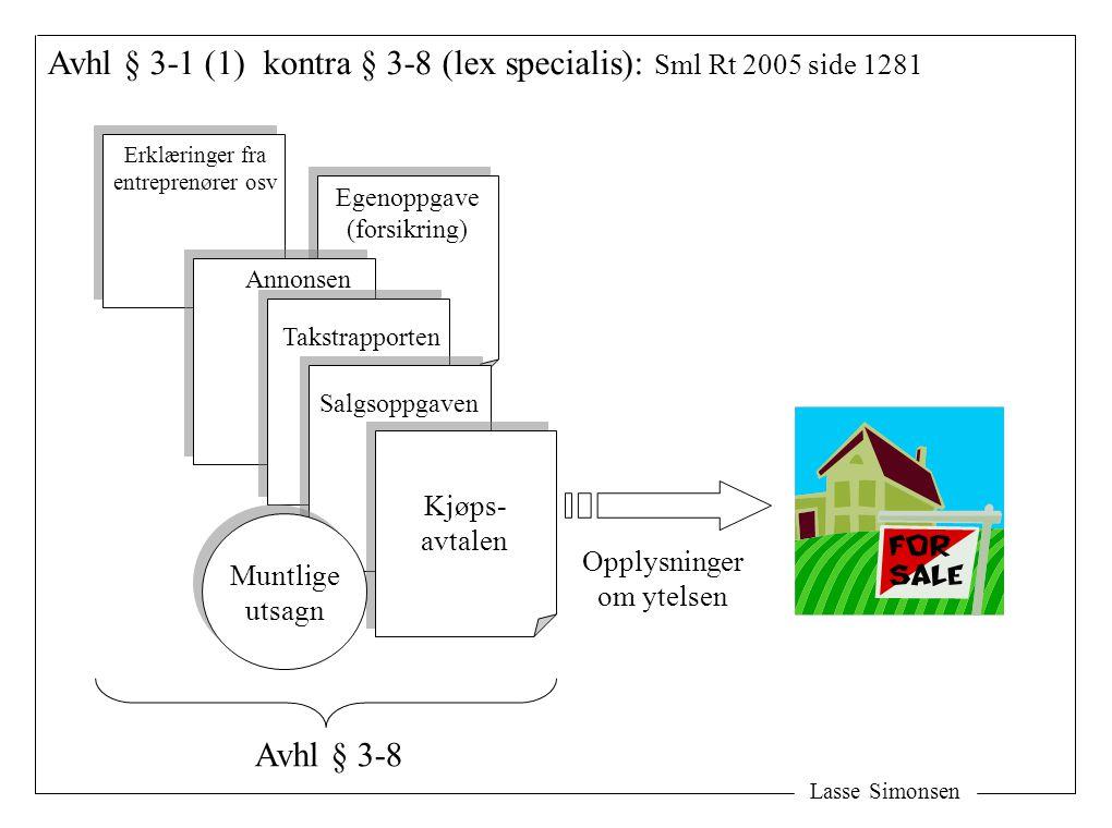 Lasse Simonsen Avhl § 3-1 (1) kontra § 3-8 (lex specialis): Sml Rt 2005 side 1281 Kjøps- avtalen Kjøps- avtalen Opplysninger om ytelsen Salgsoppgaven