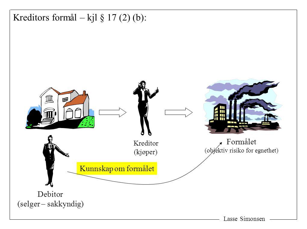 Lasse Simonsen Kreditors formål – kjl § 17 (2) (b): Formålet (objektiv risiko for egnethet) Kreditor (kjøper) Debitor (selger – sakkyndig) Kunnskap om