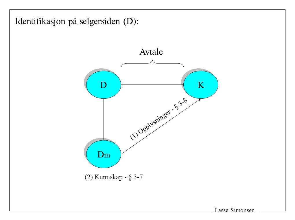 Lasse Simonsen D D DmDm DmDm K K Identifikasjon på selgersiden (D): Avtale (2) Kunnskap - § 3-7 (1) Opplysninger - § 3-8