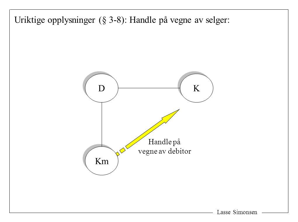 Lasse Simonsen Uriktige opplysninger (§ 3-8): Handle på vegne av selger: D D Km K K Handle på vegne av debitor