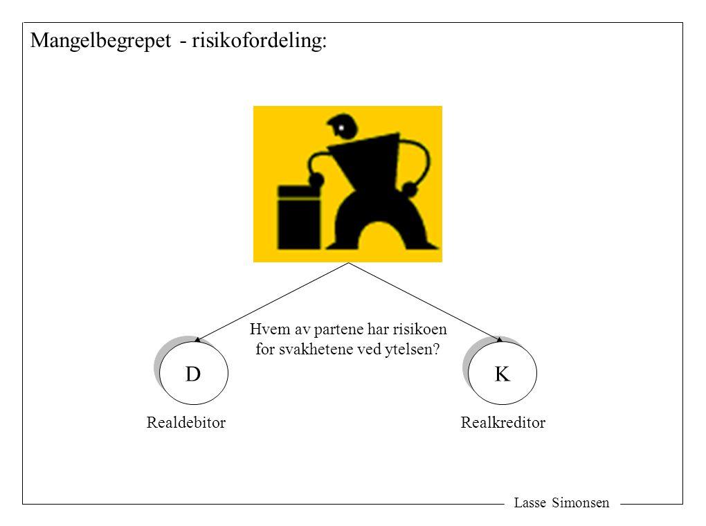 Lasse Simonsen Mangelbegrepet - risikofordeling: D D K K Hvem av partene har risikoen for svakhetene ved ytelsen? RealdebitorRealkreditor