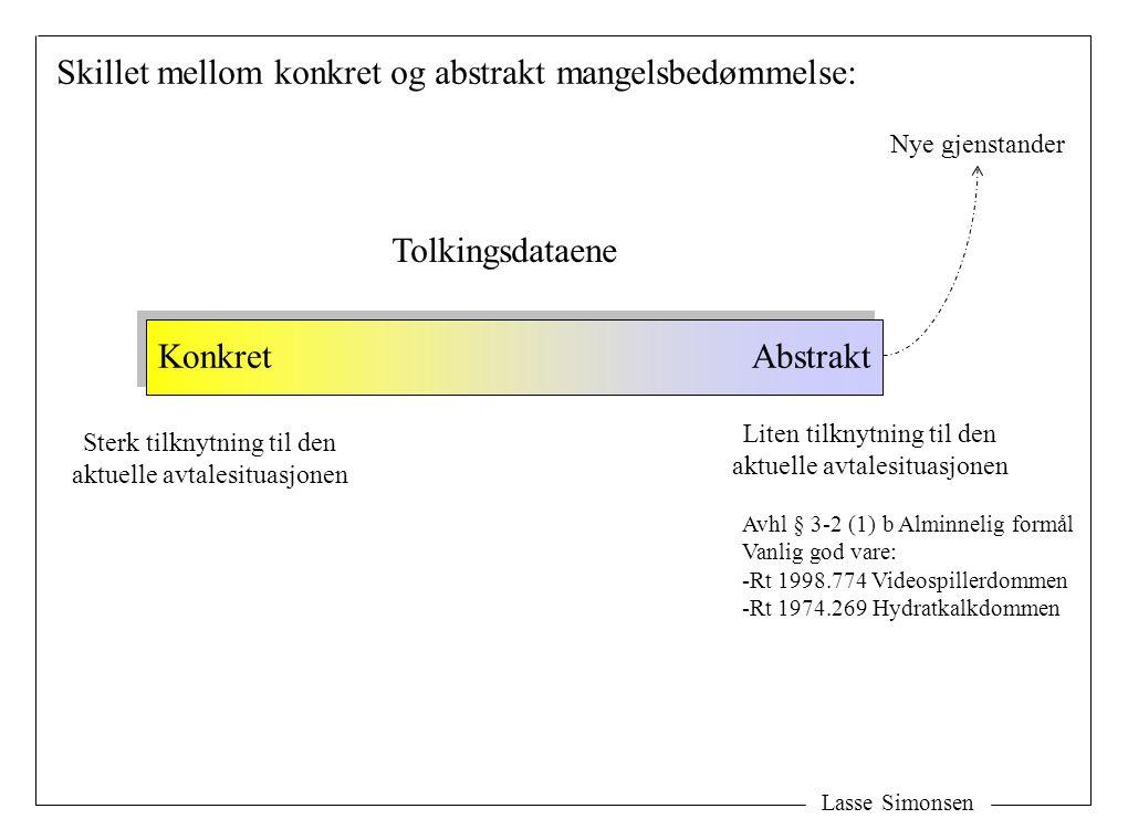 Lasse Simonsen Skillet mellom konkret og abstrakt mangelsbedømmelse: Tolkingsdataene KonkretAbstrakt Liten tilknytning til den aktuelle avtalesituasjo