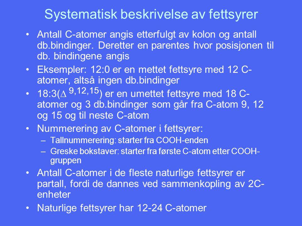 Systematisk beskrivelse av fettsyrer Antall C-atomer angis etterfulgt av kolon og antall db.bindinger. Deretter en parentes hvor posisjonen til db. bi