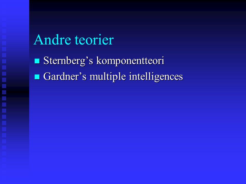 Andre teorier Sternberg's komponentteori Sternberg's komponentteori Gardner's multiple intelligences Gardner's multiple intelligences