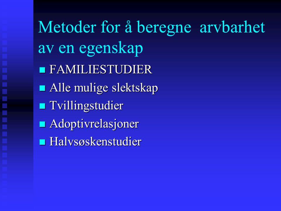 Metoder for å beregne arvbarhet av en egenskap FAMILIESTUDIER FAMILIESTUDIER Alle mulige slektskap Alle mulige slektskap Tvillingstudier Tvillingstudi
