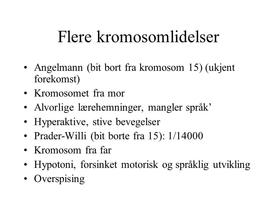 Flere kromosomlidelser Angelmann (bit bort fra kromosom 15) (ukjent forekomst) Kromosomet fra mor Alvorlige lærehemninger, mangler språk' Hyperaktive, stive bevegelser Prader-Willi (bit borte fra 15): 1/14000 Kromosom fra far Hypotoni, forsinket motorisk og språklig utvikling Overspising
