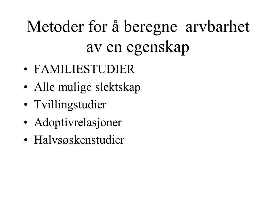 Metoder for å beregne arvbarhet av en egenskap FAMILIESTUDIER Alle mulige slektskap Tvillingstudier Adoptivrelasjoner Halvsøskenstudier
