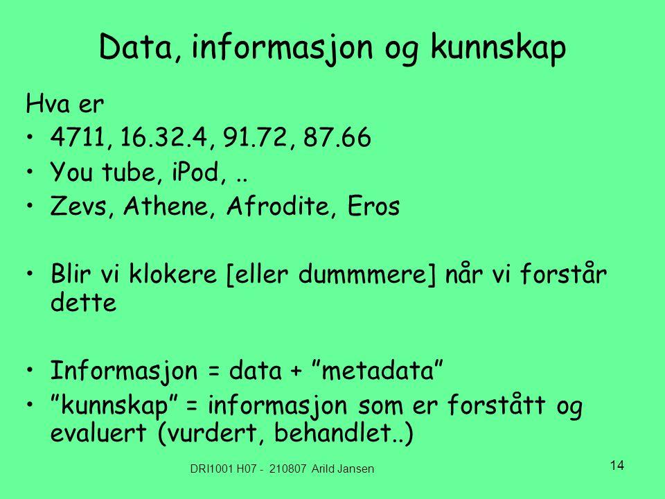 DRI1001 H07 - 210807 Arild Jansen 14 Data, informasjon og kunnskap Hva er 4711, 16.32.4, 91.72, 87.66 You tube, iPod,..
