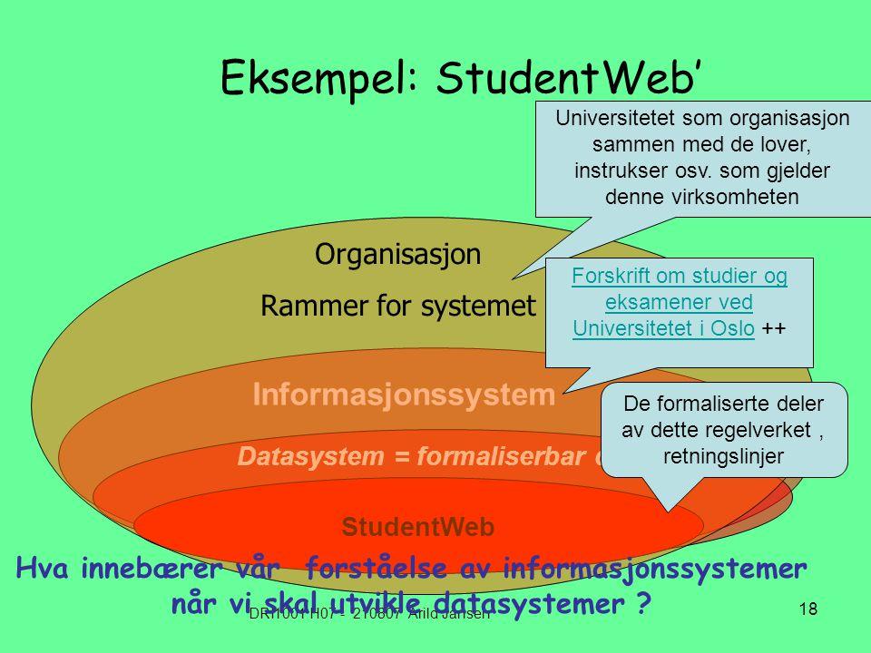DRI1001 H07 - 210807 Arild Jansen 18 Eksempel: StudentWeb' Informasjonssystem Datasystem = formaliserbar del StudentWeb Organisasjon Rammer for systemet Universitetet som organisasjon sammen med de lover, instrukser osv.