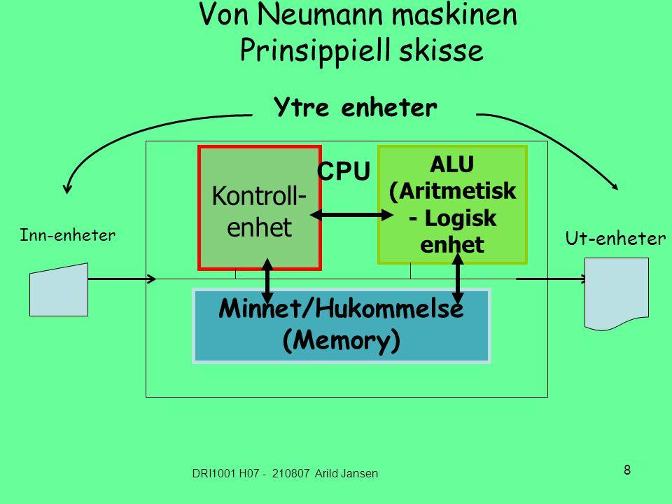 DRI1001 H07 - 210807 Arild Jansen 9 Datamaskinens oppbygging i dag – sterkt forenklet ALU (Aritmetisk Logisk enhet Minnet/Hukommelse (RAM, ROM,.....