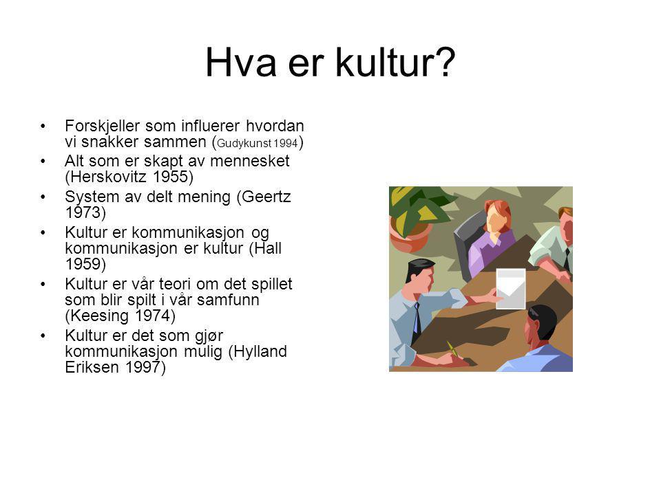 2 grunnleggende kulturbegreper 1.Kultur er de skikker, verdier og væremåter som overføres, om enn i noe forandret form, fra generasjon til generasjon (Klausen 1992).
