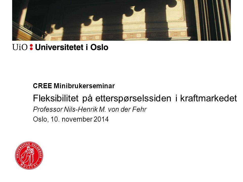 CREE Minibrukerseminar Fleksibilitet på etterspørselssiden i kraftmarkedet Professor Nils-Henrik M.