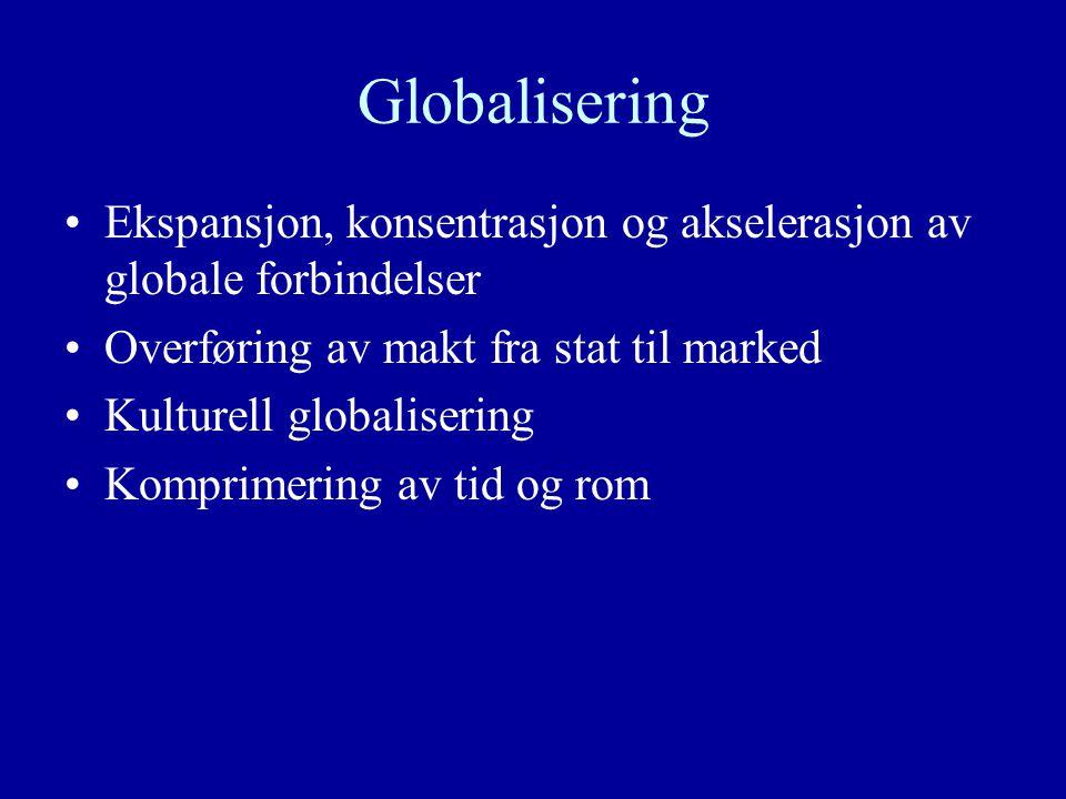 Globalisering Ekspansjon, konsentrasjon og akselerasjon av globale forbindelser Overføring av makt fra stat til marked Kulturell globalisering Komprimering av tid og rom