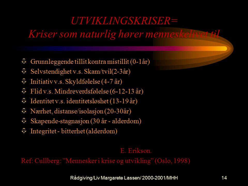 Rådgiving/Liv Margarete Lassen/ 2000-2001/MHH14 UTVIKLINGSKRISER= Kriser som naturlig hører menneskelivet til òGrunnleggende tillit kontra mistillit (0-1år) òSelvstendighet v.s.