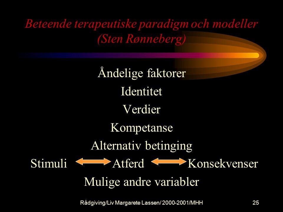 Rådgiving/Liv Margarete Lassen/ 2000-2001/MHH25 Beteende terapeutiske paradigm och modeller (Sten Rønneberg) Åndelige faktorer Identitet Verdier Kompetanse Alternativ betinging Stimuli Atferd Konsekvenser Mulige andre variabler