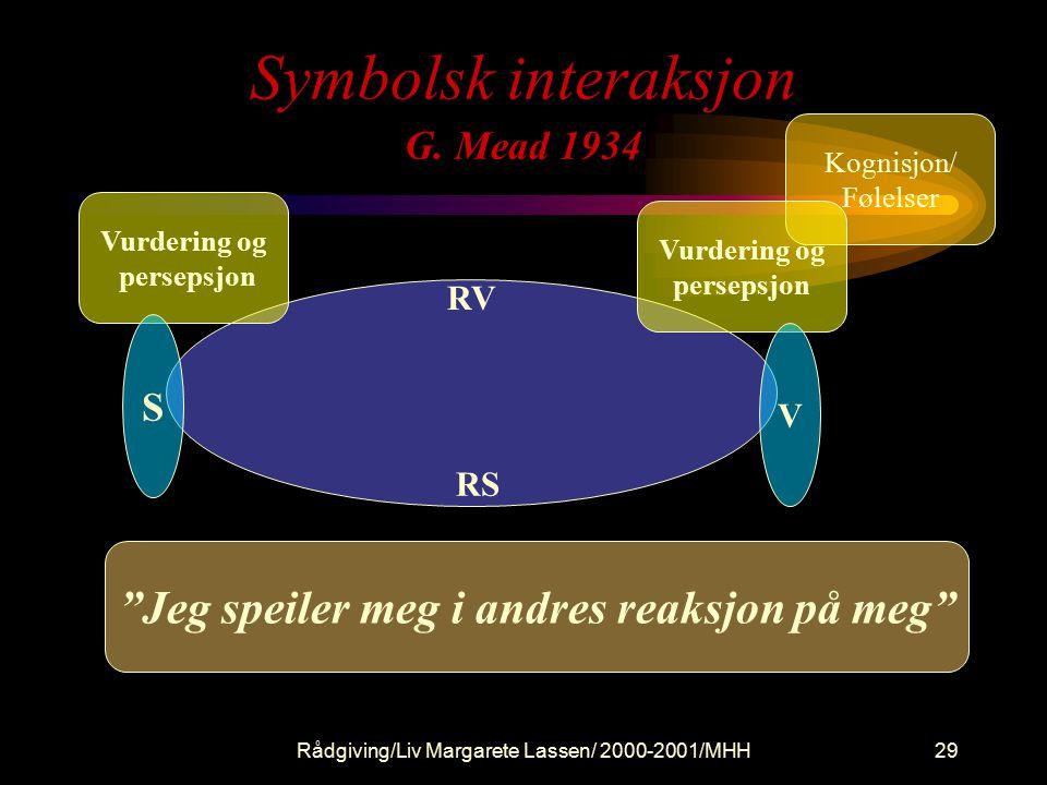 Rådgiving/Liv Margarete Lassen/ 2000-2001/MHH29 Symbolsk interaksjon G.