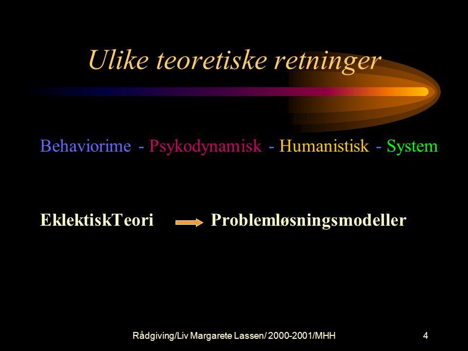 Rådgiving/Liv Margarete Lassen/ 2000-2001/MHH4 Behaviorime - Psykodynamisk - Humanistisk - System EklektiskTeori Problemløsningsmodeller Ulike teoretiske retninger