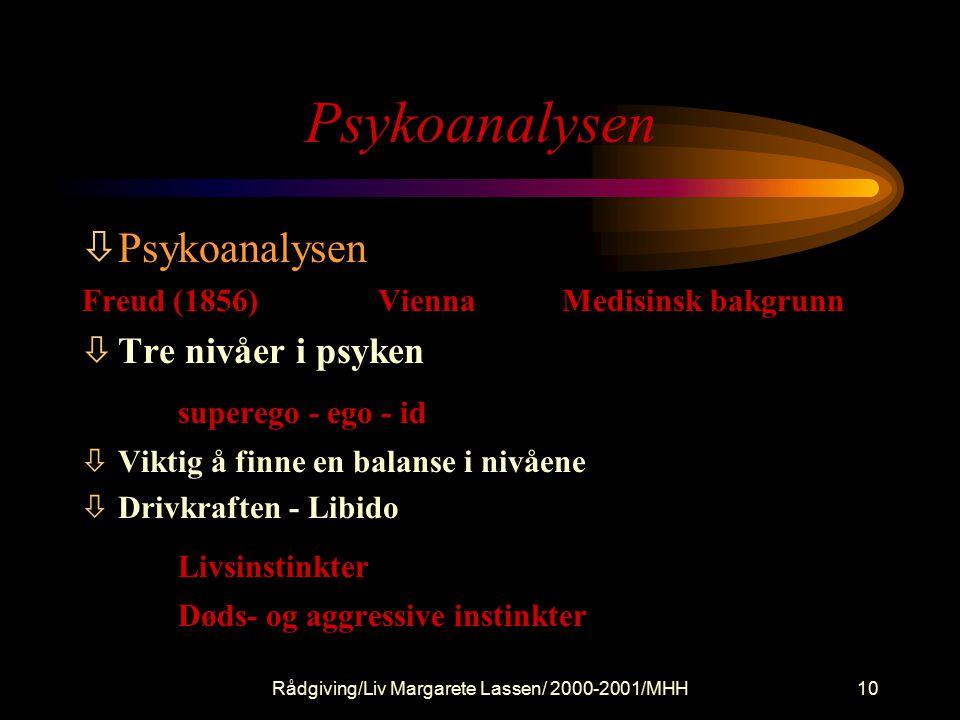 Rådgiving/Liv Margarete Lassen/ 2000-2001/MHH10 Psykoanalysen òPsykoanalysen Freud (1856) Vienna Medisinsk bakgrunn òTre nivåer i psyken superego - ego - id òViktig å finne en balanse i nivåene òDrivkraften - Libido Livsinstinkter Døds- og aggressive instinkter