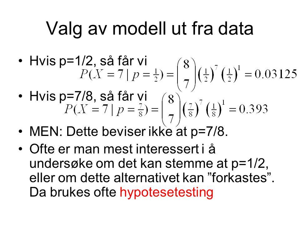Valg av modell ut fra data Hvis p=1/2, så får vi Hvis p=7/8, så får vi MEN: Dette beviser ikke at p=7/8.