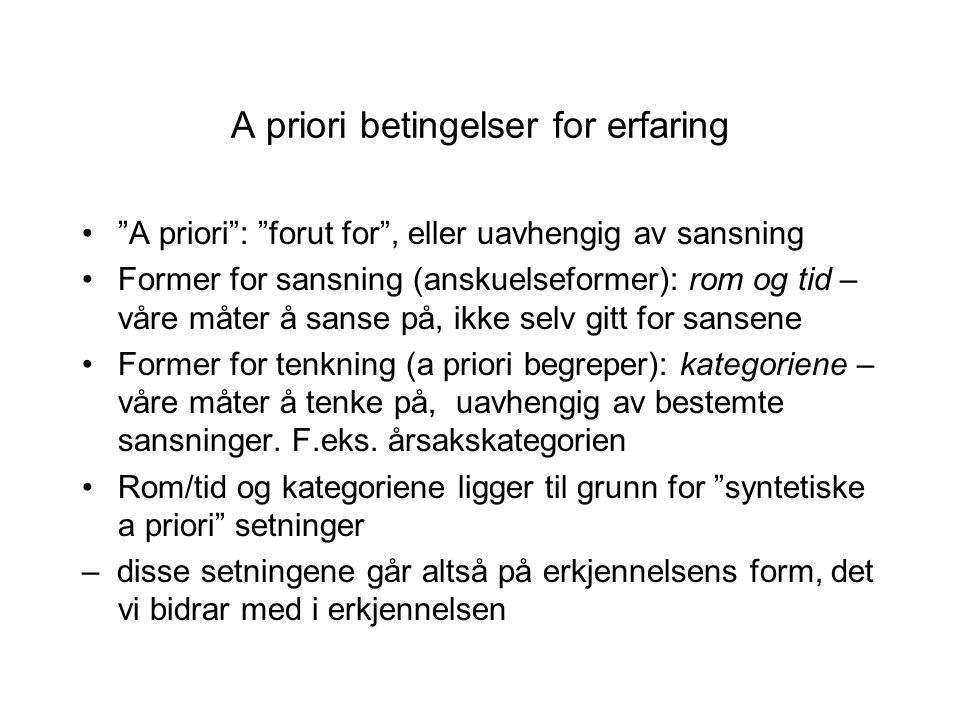 """A priori betingelser for erfaring """"A priori"""": """"forut for"""", eller uavhengig av sansning Former for sansning (anskuelseformer): rom og tid – våre måter"""
